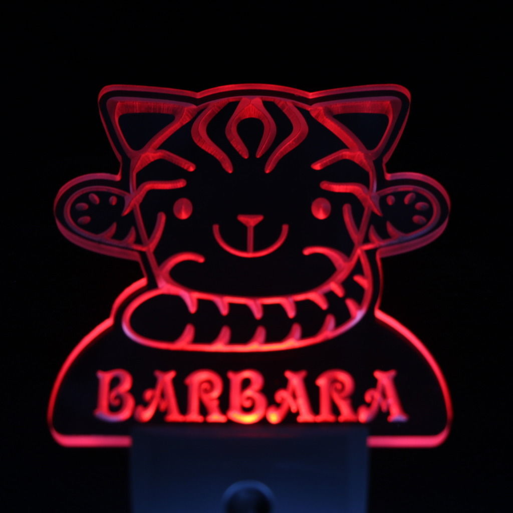 Cat Kitty Personalized Day Night Sensor LED Night Light Red