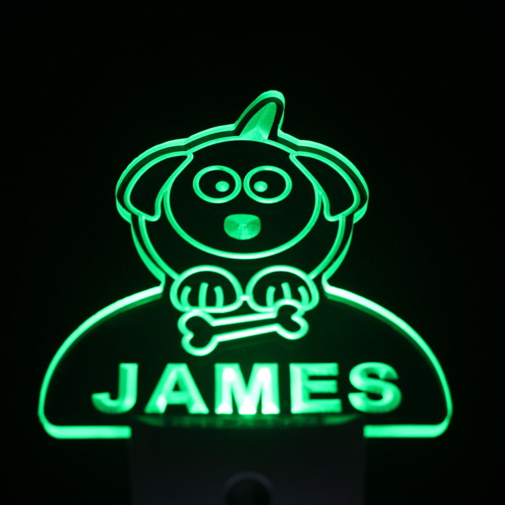 Dog Puppy Personalized Day Night Sensor LED Night Light Green