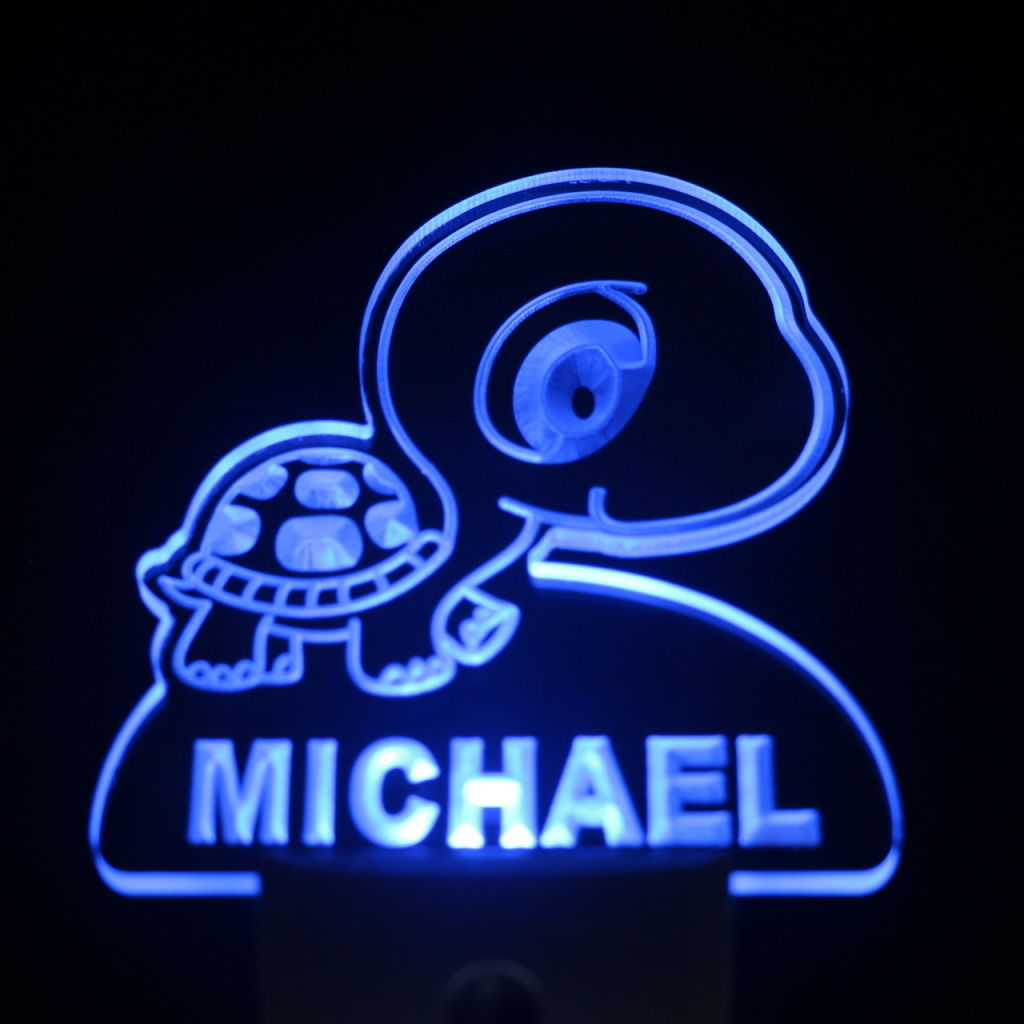 Baby Turtle Personalized Day Night Sensor LED Night Light Blue