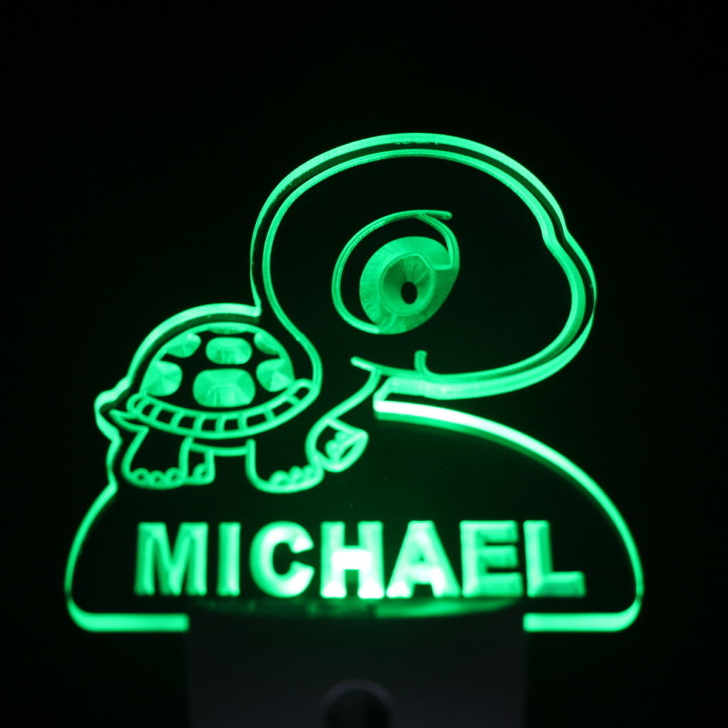 Baby Turtle Personalized Day Night Sensor LED Night Light Green