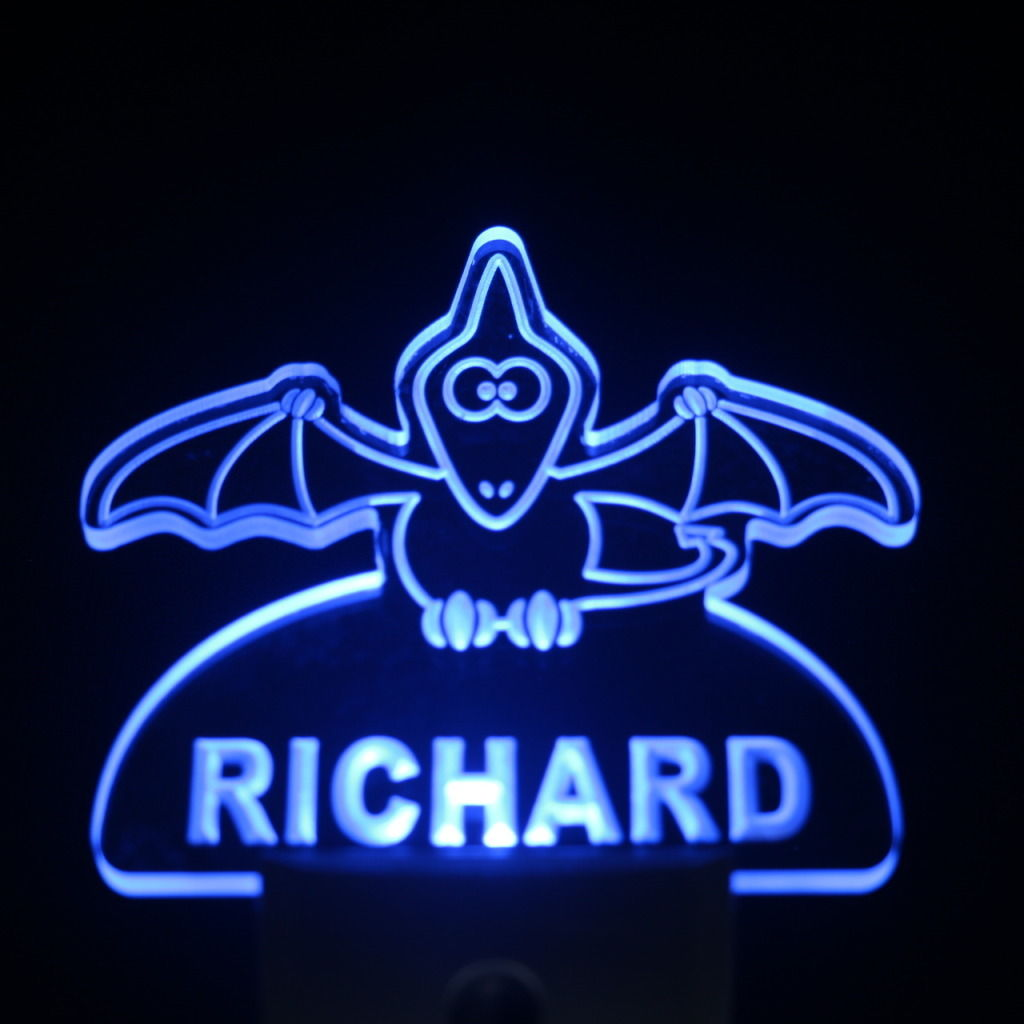 Baby Bat Personalized Day Night Sensor LED Night Light Blue