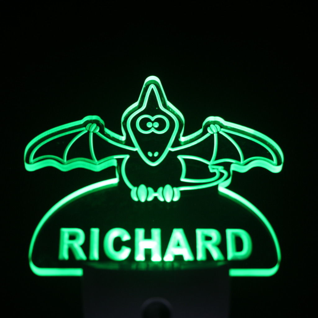 Baby Bat Personalized Day Night Sensor LED Night Light Green