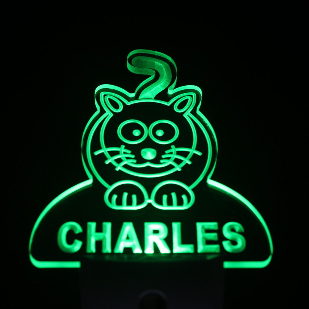 Baby Cat Personalized Day Night Sensor LED Night Light Green