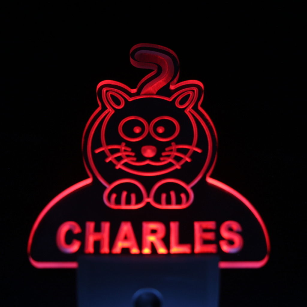 Baby Cat Personalized Day Night Sensor LED Night Light Red