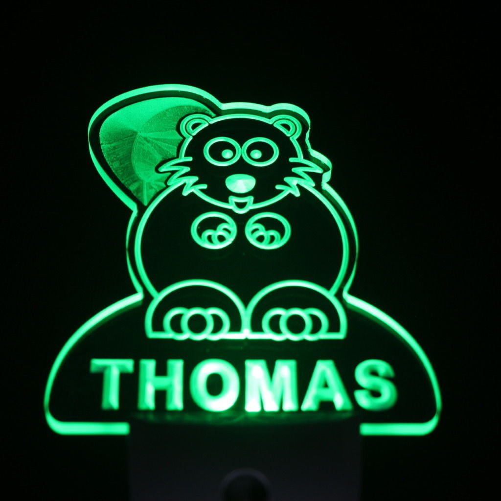 Beaver Personalized Day Night Sensor LED Night Light Green