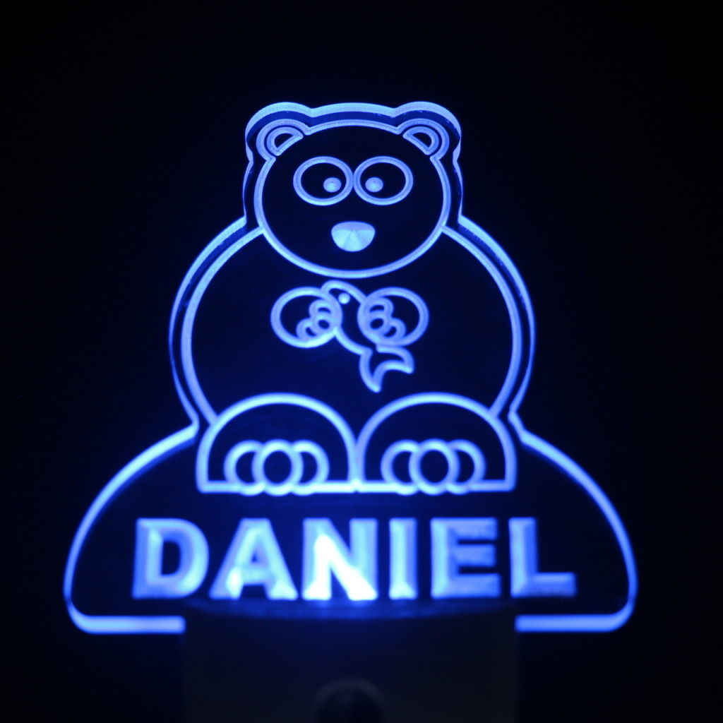 Bear Personalized Day Night Sensor LED Night Light Blue