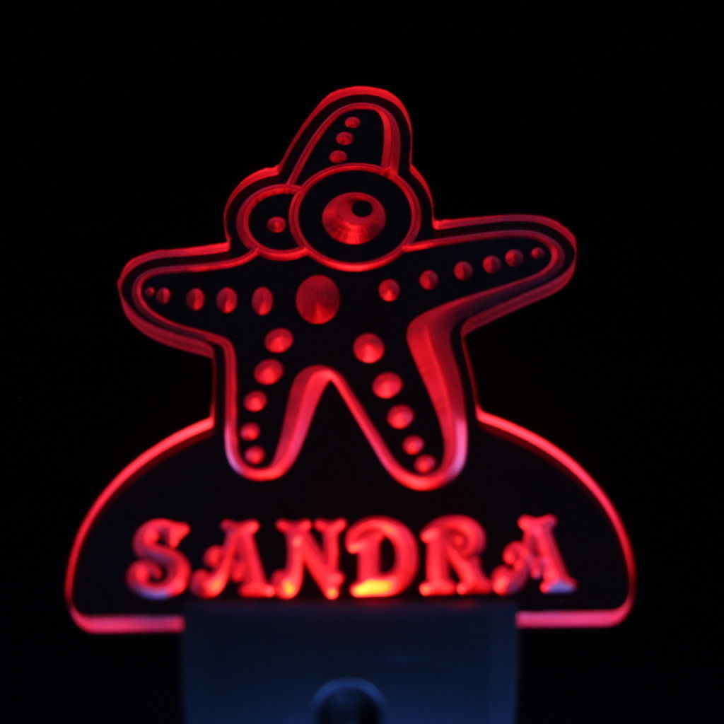 Sea Star Personalized Day Night Sensor LED Night Light Red