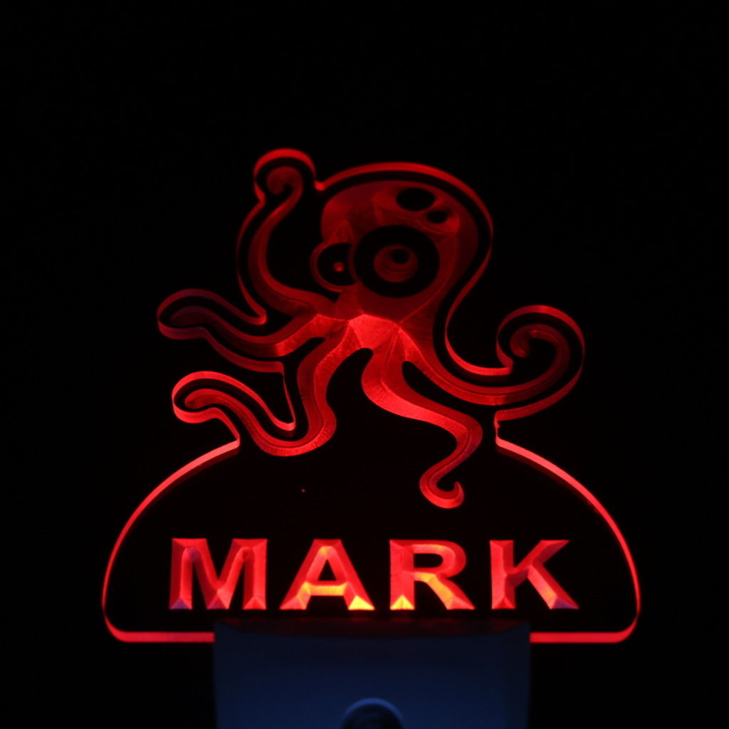 Octopus Personalized Day Night Sensor LED Night Light Red