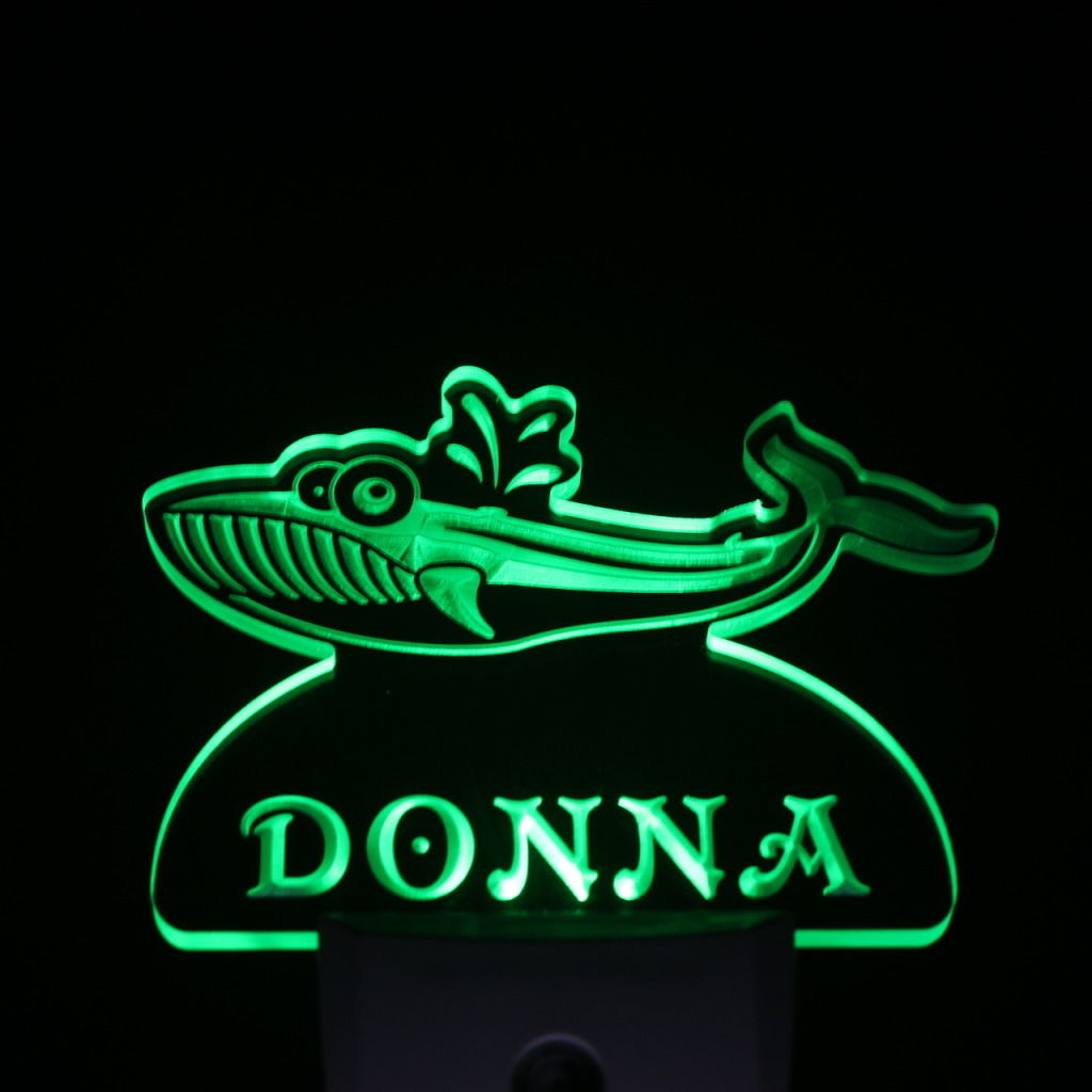 Blue Whale Personalized Day Night Sensor LED Night Light Green