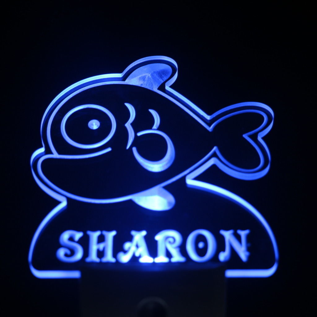 Cartoon Fish Personalized Day Night Sensor LED Night Light Blue