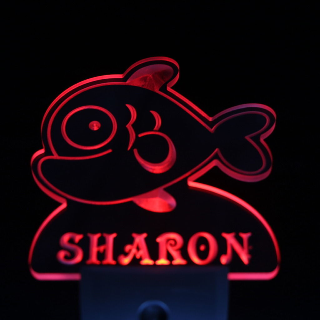 Cartoon Fish Personalized Day Night Sensor LED Night Light Red