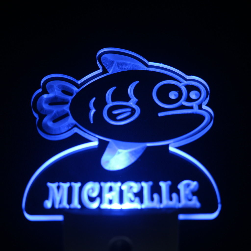 Grumpy Fish Personalized Day Night Sensor LED Night Light Blue