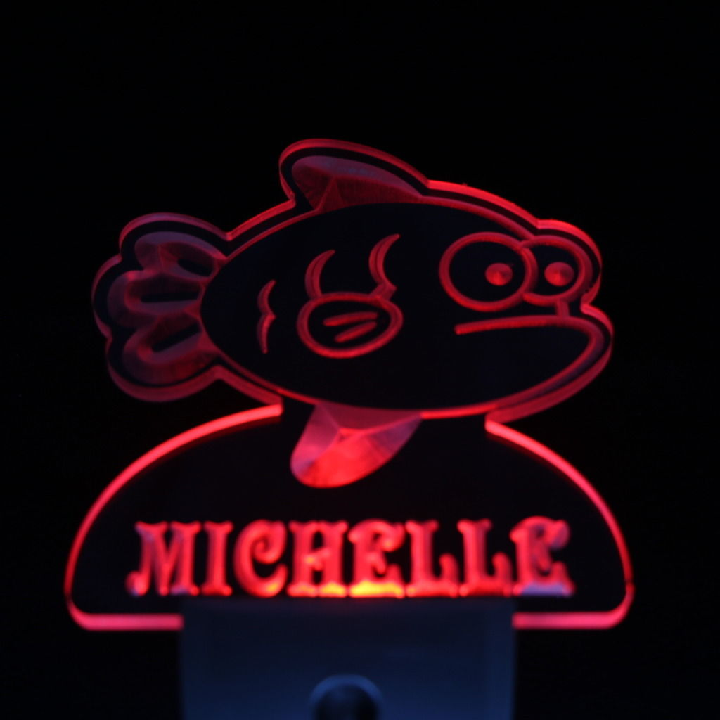 Grumpy Fish Personalized Day Night Sensor LED Night Light Red