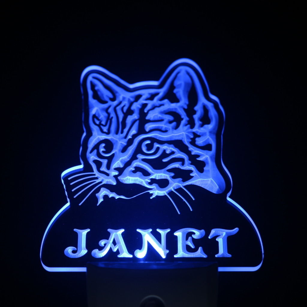 Wild Cat Personalized Day Night Sensor LED Night Light Blue