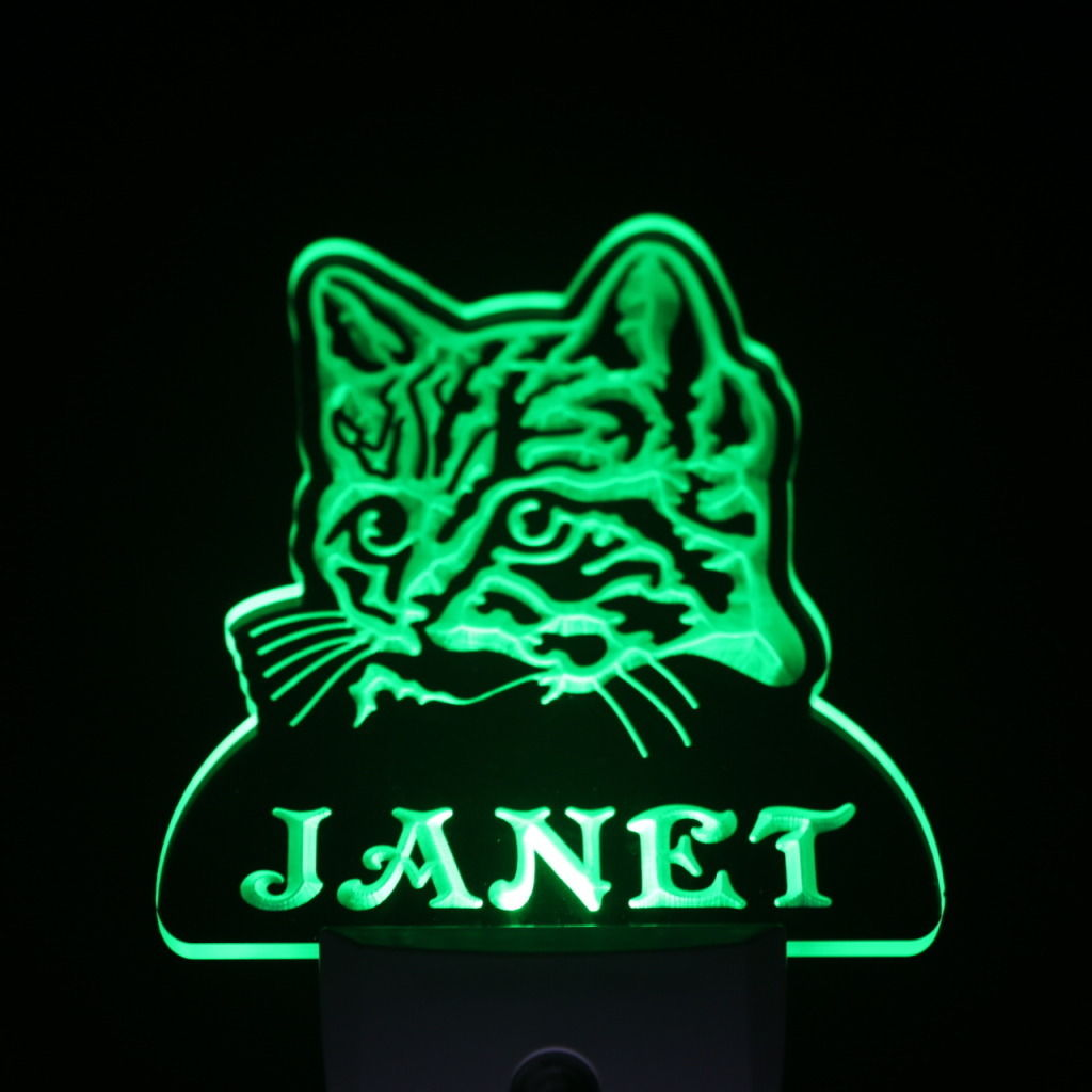 Wild Cat Personalized Day Night Sensor LED Night Light Green