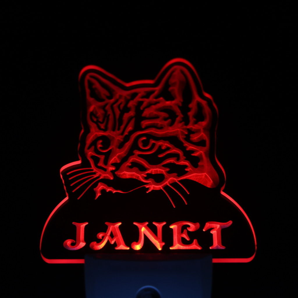 Wild Cat Personalized Day Night Sensor LED Night Light Red