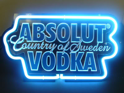 Absolut Vodka Blue Neon Sign