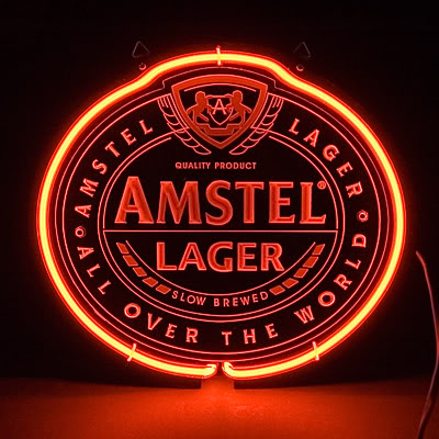Amstel Lager Slow Brewed Red Neon Sign