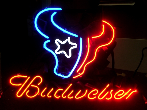 "BUDWEISER NFL HOUSTON TEXANS BEER NEON LIGHT SIGN 16"" X 15"""