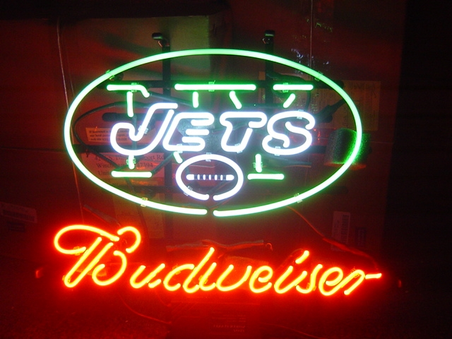 "BUDWEISER NFL NEW YORK NY JETS BEER NEON LIGHT SIGN 16"" X 15"""