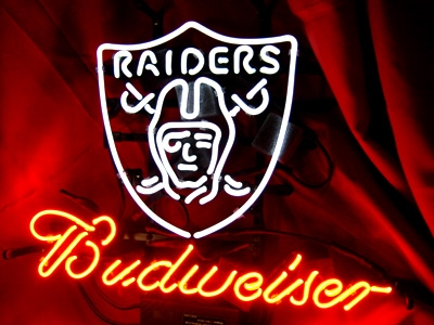 "BUDWEISER NFL OAKLAND RAIDERS BEER NEON LIGHT SIGN 16""x15"""