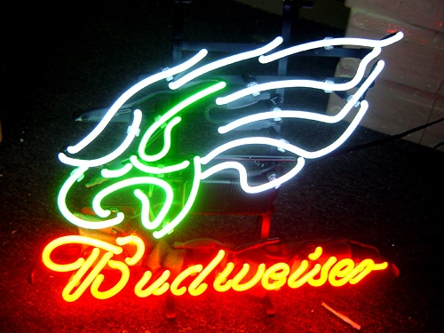 "BUDWEISER NFL PHILADELPHIA EAGLES BEER NEON LIGHT SIGN 16"" X 13"""
