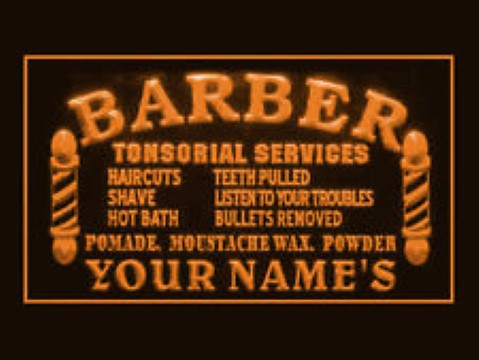 Barber Services Custom Name LED Neon Sign