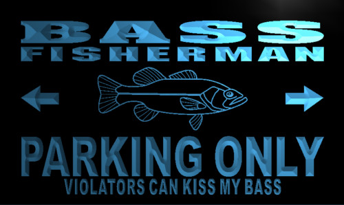 Bass Fisherman Parking Only Neon Light Sign