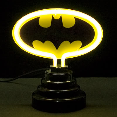 Batman Logo Black on Yellow Neon Bar Mancave Sign