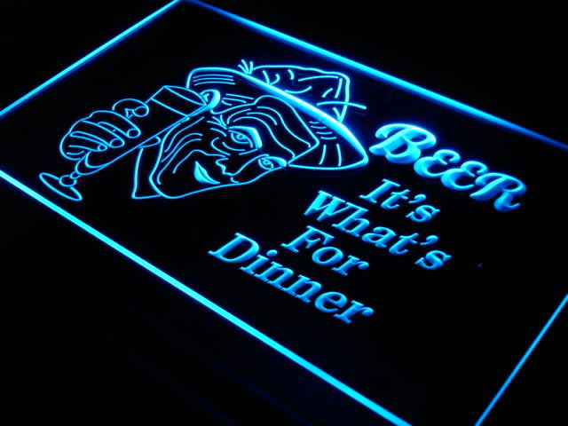 Beer It's What For Dinner Bar Neon Light Sign