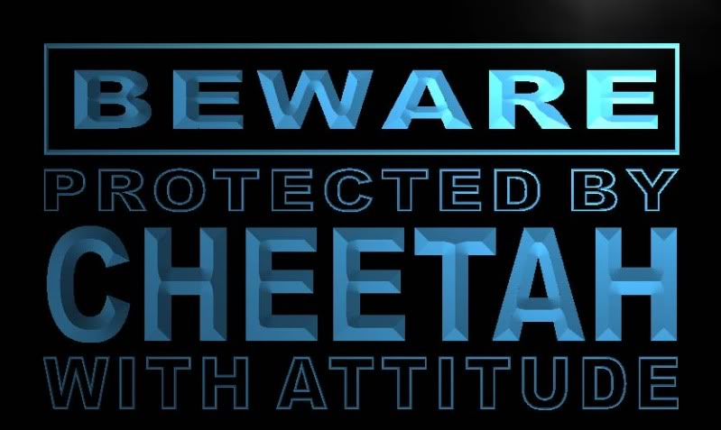 Beware Cheetah Neon Light Sign