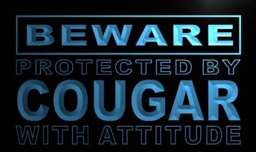Beware Cougar Neon Light Sign