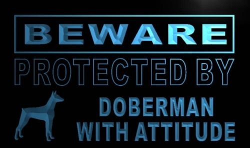 Beware Doberman Neon Light Sign