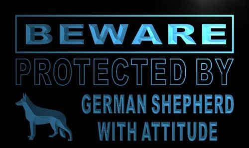 Beware German Shepherd Neon Light Sign
