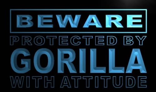 Beware Gorilla Neon Light Sign