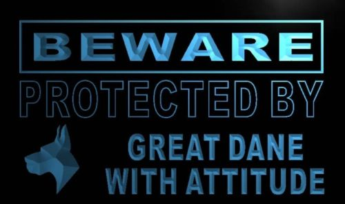Beware Great Dane Neon Light Sign