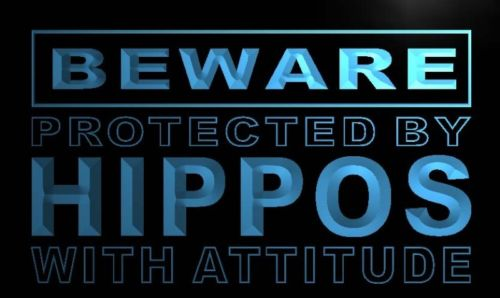 Beware Hippos Neon Light Sign