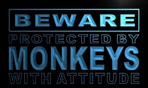 Beware Monkeys Neon Light Sign