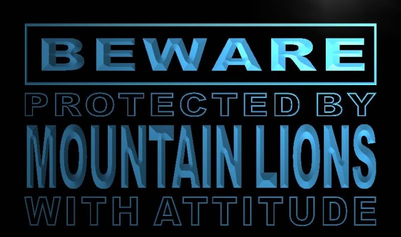 Beware Mountain Lions Neon Light Sign
