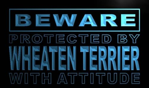 Beware Wheaten Terrier Neon Light Sign