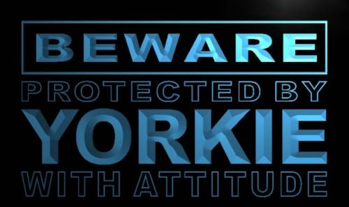 Beware Yorkie Neon Light Sign