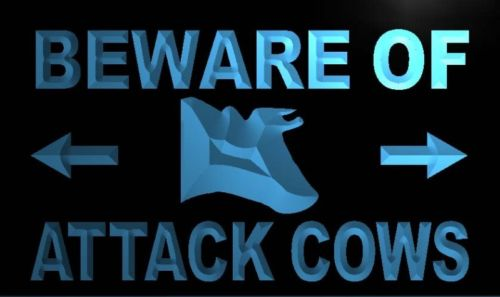 Beware of Attack Cows Neon Light Sign