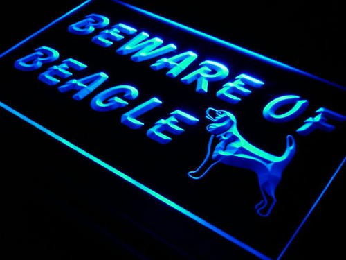 Beware of Beagle Dog Pet Shop Neon Light Sign