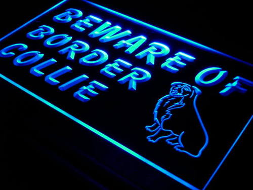 Beware of Border Collie Dog Pet Neon Light Sign