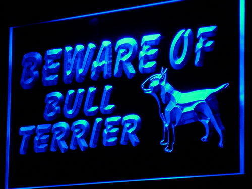 Beware of Bull Terrier Dog Light Sign
