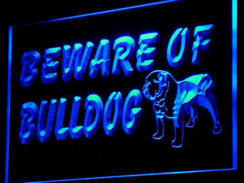 Beware of Bulldog Display Dog Neon Light Sign
