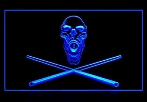 Billiard Game Room 8 Ball Pirate Skull LED Neon Sign