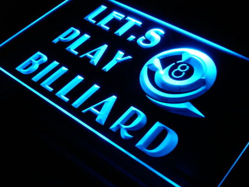 Billiard Let's Play Pool Room LED Neon Sign