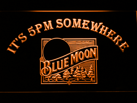 Blue Moon Old Logo It's 5pm Somewhere LED Neon Sign
