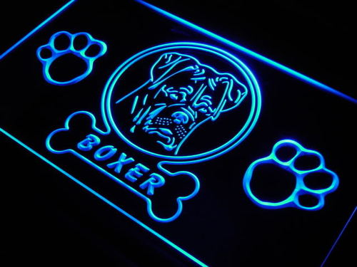 Boxer Pet Dog Paw Print Shop Neon Light Sign
